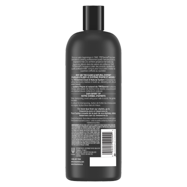 A 828 ml bottle of Clean & Natural Shampoo back of pack image