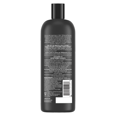 A 828 ml bottle of Smooth & Silky Shampoo back of pack image