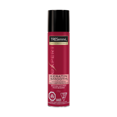A 218 g can of Keratin Smooth Hair Spray front of pack image