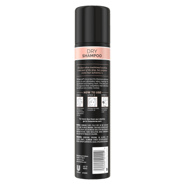 A 4.3oz can of Between Washes Unscented Dry Shampoo back of pack image