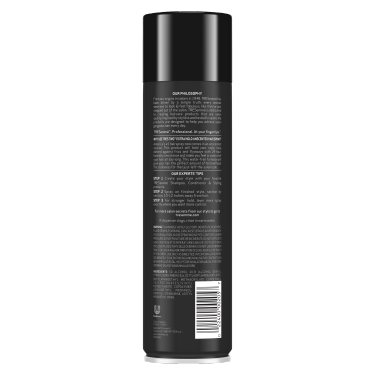 A 11oz can of TRESemmé TRES TWO Extra Hold Unscented Hair Spray back of pack image