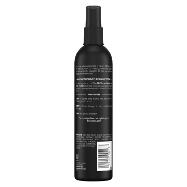 A 10oz bottle of TRESemmé Moisture Rich Nourishing Detangling Spray back of pack image