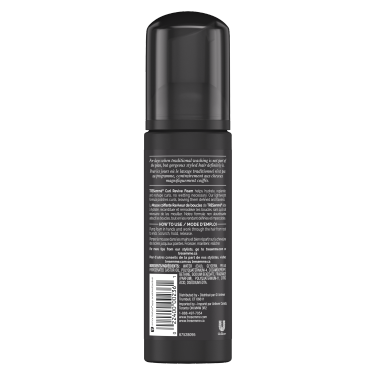 imagen al reverso del paquete - un envase de 5oz TRESemmé Between Washes Curl Reviving Styling Foam