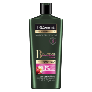 A 22oz bottle of TRESemmé Botanique Color Vibrance and Shine Sulfate Free Shampoo front of pack image