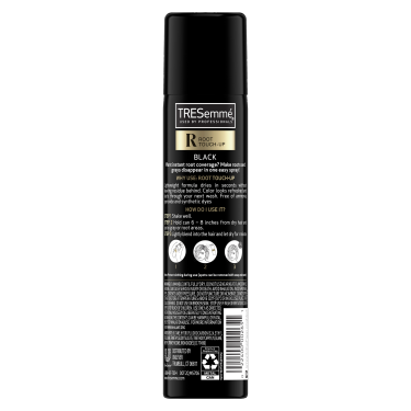 A 2.5oz can of TRESemmé Root Touch Up Spray for Black Hair back of pack imag