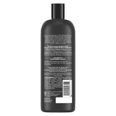 A 828 ml bottle of Cleanse and Replenish 2 in 1 Shampoo and Conditioner back of pack image