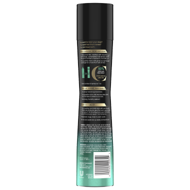 imagen al reverso del paquete - un envase de 5.5oz TRESemmé Compressed Micro Mist Level 4 Hair Spray