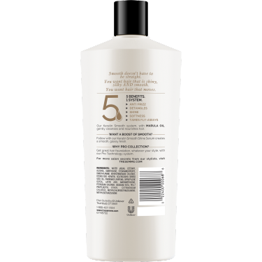 A 22oz bottle of TRESemmé Keratin Smooth Conditioner back of pack image