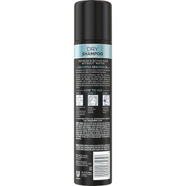 A 4.3oz can of TRESemmé Basic Care Dry Shampoo back of pack image