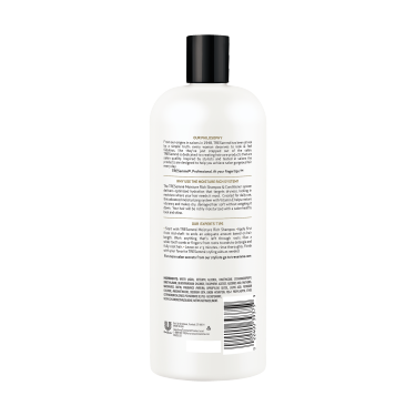 A 28oz bottle of TRESemmé Moisture Rich Conditioner back of pack image