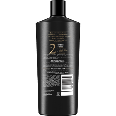 A 22oz bottle of TRESemmé Beauty-Full Volume Shampoo back of pack image