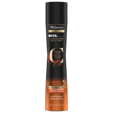 A 5.5oz bottle of TRESemmé Compressed Micro Mist Level 3 Hair Spray front of pack image