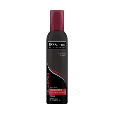 Imagen al frente del paquete - una lata de 6.5 oz TRESemmé Thermal Creations Volumizing Hair Mousse - Imagen al reverso del paquete - una lata de 6.5 oz TRESemmé Thermal Creations Volumizing Hair Mousse