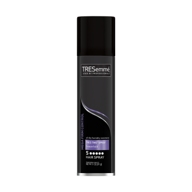 Imagen al frente del paquete - una lata de 11 oz TRESemmé TRES TWO Freeze Hold Hair Spray - Imagen al reverso del paquete - una lata de 11 oz TRESemmé TRES TWO Freeze Hold Hair Spray