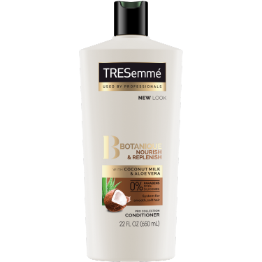 Imagen al frente del paquete - un envase de 25 oz TRESemmé Botanique Nourish and Replenish Conditioner - Imagen al reverso del paquete - un envase de 25 oz TRESemmé Botanique Nourish and Replenish Conditioner