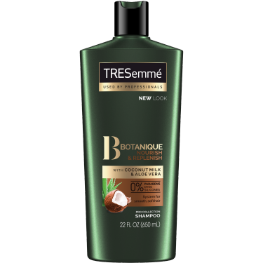 A 22oz bottle of TRESemmé Botanique Nourish and Replenish Shampoo front of pack image
