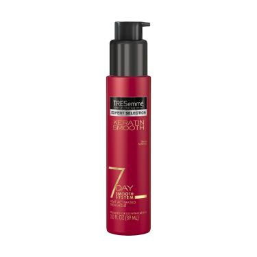 Imagen al frente del paquete - un envase de 3oz TRESemmé Keratin 7 Day Smooth Heat Activated Treatment